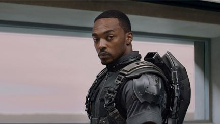 Sam Wilson (Anthony Mackie) gets ready for battle in Captain America: The Winter Soldier