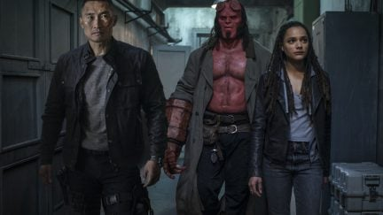 Ben Daimio (Daniel Dae Kim, left), Hellboy (David Harbour, center) and Alice Monaghan (Sasha Lane) in HELLBOY.