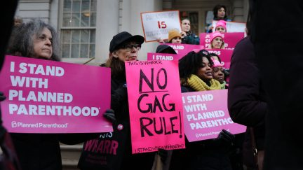 Pro-choice activists, politicians and others associated with Planned Parenthood gather for a news conference and demonstration.