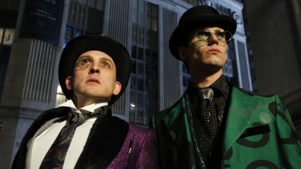 GOTHAM: L-R: Robin Lord Taylor and Cory Michael Smith in the