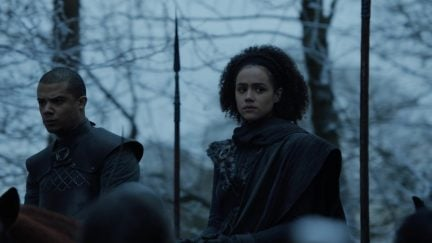 Grey Worm and Missandei enter Winterfell on Game of Thrones where the North meets people of color for the first time yayyyy only thing scarier than dragons are brown people on horses.