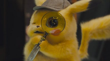 Pikachu looks for clues in the trailer for Detective Pikachu.