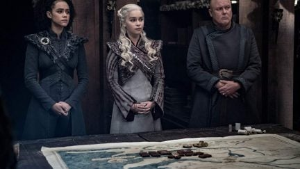 Conleth Hill, Nathalie Emmanuel, and Emilia Clarke in Game of Thrones (2011)