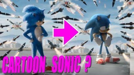 Sonic the Hedgehog movie trailer vs. fan-made trailer image comparison.