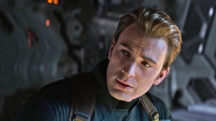 chris evans as captain america in avengers endgame.