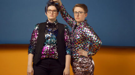 Laser Malena-Webber and Aubrey Turner dressed in sparkly clothes.