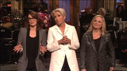 emma thompson, amy poehler, and tina fey doing the mother's day monologue on snl.