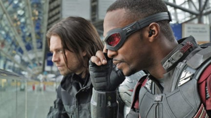 sebastian stan and anthony mackie as winter soldier and falcon.