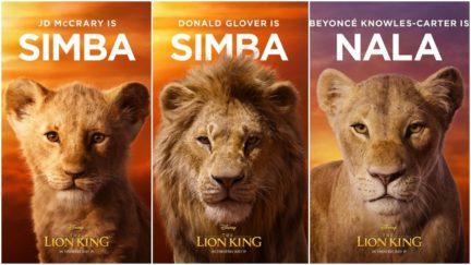 Lion King character posters of young Simba, adult Simba, and Nala