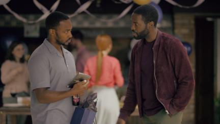 Anthony Mackie and Yahya Abdul-Mateen II in Black Mirror's Striking Vipers.