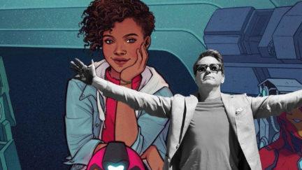 Riri Williams/Ironheart in a comic panel, with Robert Downey Jr.'s Tony Stark superimposed.