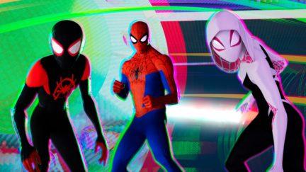 Miles Morales (Shameik Moore), Peter Parker (Jake Johnson) and Spider-Gwen (Hailee Steinfeld).