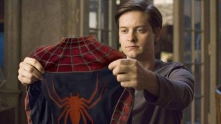 tobeyt maguire as peter parker in spider-man 2.