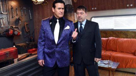 Bruce Campbell and Sam Raimi attend STARZ' Ash vs Evil Dead At New York Comic Con at Jacob Javits Center on October 10, 2015 in New York City. (Photo by Nicholas Hunt/Getty Images for STARZ)