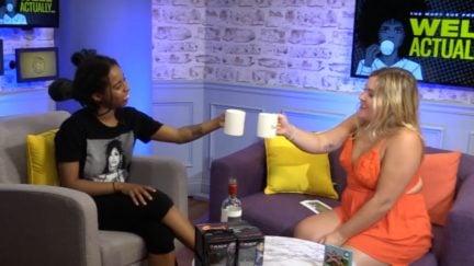 Rachel and Princess drinking their pain away