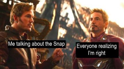 Tony Stark thinking about the Snap