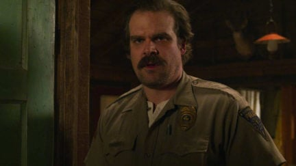 Hopper (David Harbour) is less charming and more terrible in Stranger Things 3.