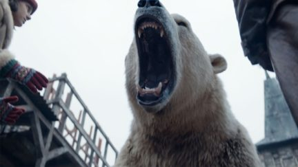 A roaring Polar Bear in BBC and HBO's His Dark Materials series.