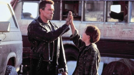 arnold schwarzenegger and edward furlong in t2: judgment day