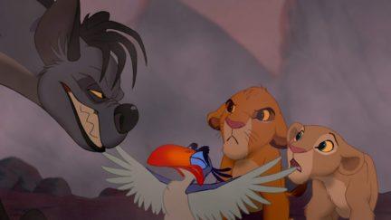 Rowan Atkinson, Whoopi Goldberg, Jonathan Taylor Thomas, and Niketa Calame-Harris in The Lion King (1994)