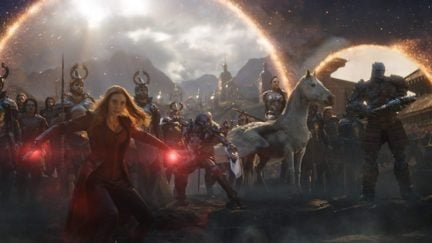 Taika Waititi, Elizabeth Olsen, and Tessa Thompson in Avengers: Endgame (2019)