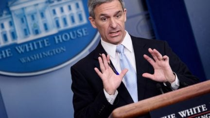 Acting Director of the US Citizenship and Immigration Services Ken Cuccinelli speaks during a briefing at the White House