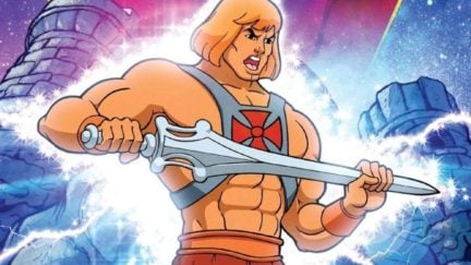 He-Man rubs his Power Sword.