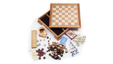 A chess board and some other games and stuff.