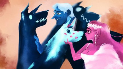 hades persephone and their dogs in lore olympus