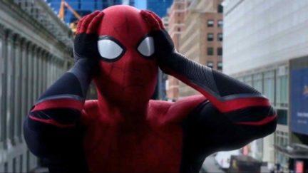 Spider-Man looking shocked