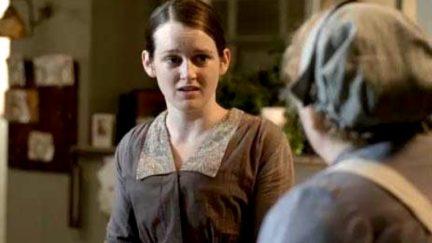 Daisy looking upset on ITV's Downton Abbey.
