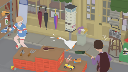 In a screenshot from Untitled Goose Game, an animated goose honks at a young boy in an outdoor shop.