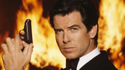 Pierce Brosnan poses in a publicity still for his run as James Bond.