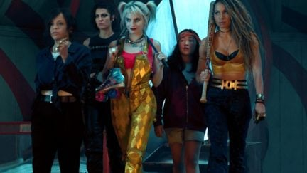 """ROSIE PEREZ as Renee Montoya, MARY ELIZABETH WINSTEAD as Huntress, MARGOT ROBBIE as Harley Quinn, ELLA JAY BASCO as Cassandra Cain and JURNEE SMOLLETT-BELL as Black Canary in Warner Bros. Pictures' """"BIRDS OF PREY (AND THE FANTABULOUS EMANCIPATION OF ONE HARLEY QUINN),"""" a Warner Bros. Pictures release. Photo by Claudette Barius"""