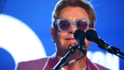"""ANTIBES, FRANCE - JULY 24: Sir Elton John on stage during the first """"Midsummer Party"""" hosted by Elton John and David Furnish to raise funds for the Elton John Aids Foundation at the Villa Dorane on July 24, 2019 in Antibes, France. (Photo by Tim P. Whitby/Getty Images for EJAF)"""