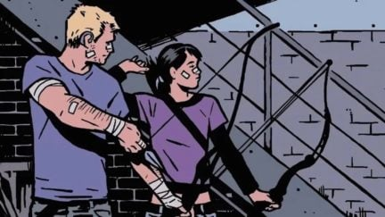 Kate Bishop and Hawkeye readying their bows in Marvel Comics.