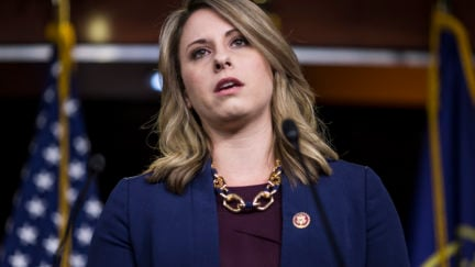 Rep. Katie Hill speaks from a podium.
