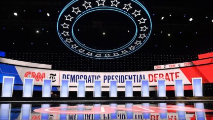 The stage is empty before the fourth Democratic primary debate.