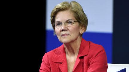 Elizabeth Warren seems to hold back a smirk.