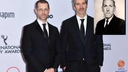 US-ENTERTAINMENT-TELEVISION-INTERNATIONAL-EMMY Producers/screenwriters David Benioff (R) and D. B. Weiss (L) arrive for the 47th Annual International Emmy Awards at New York Hilton on November 25, 2019 in New York City. - The International Emmy Award is an award ceremony bestowed by the International Academy of Television Arts and Sciences in recognition to the best television programs initially produced and aired outside the United States. (Photo by Angela Weiss / AFP) (Photo by ANGELA WEISS/AFP via Getty Images)