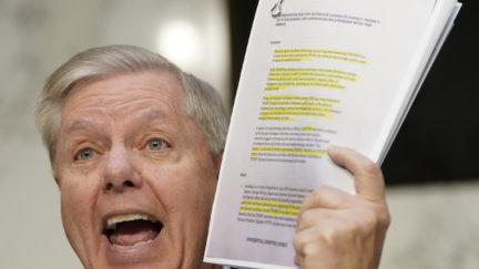Lindsey Graham yells during a Senate hearing.