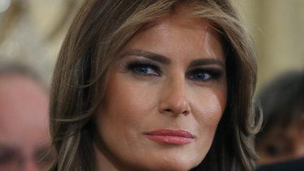 Close up of Melania Trump's face.