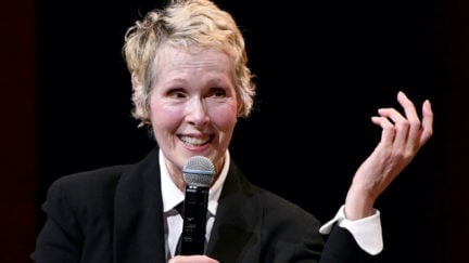 E. Jean Carroll speaks onstage during an event.