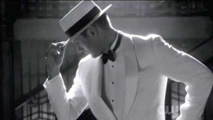 dean winchester dances in black and white
