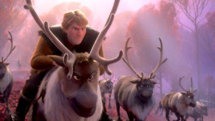 kristoff rides a reindeer in frozen 2