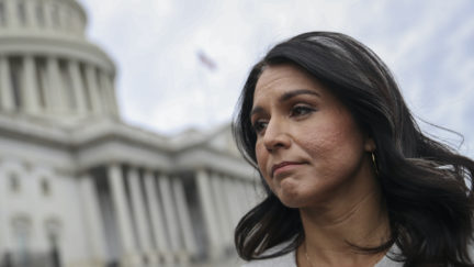 Tulsi Gabbard looks super sad with the US Capitol Building in the background.