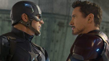 Tony Stark and Steve Rogers in Civil War