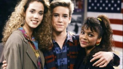 Elizabeth Berkley, Mark-Paul Gosselaar, and Lark Voorhies in Saved by the Bell (1989)