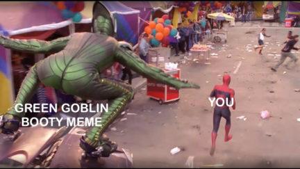 Green Goblin booty meme.