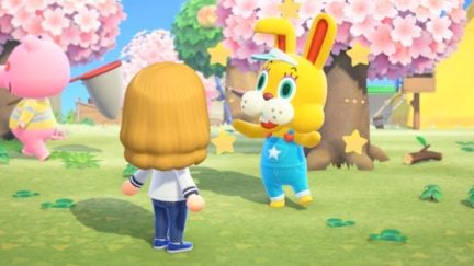 The stupid Animal Crossing bunny talks about eggs.
